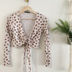 Brandy Melville Tops - Floral Wrap Top